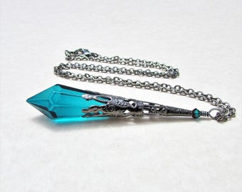 Blue Zircon Cut Glass Prism and Gunmetal Pendulum Necklace - Blue Devil