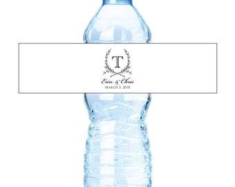Wedding Water Bottle Labels Personalized Waterproof Labels Waterbottle Labels Monogram Stickers Custom Bottle Labels Party Favors Sticker