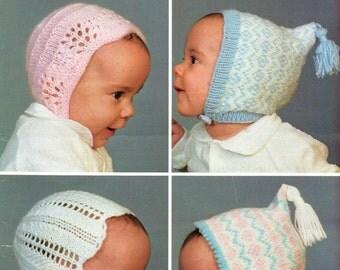 Four Baby's Bonnets, Original Vintage Knitting Pattern, Sirdar 3315