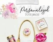 Bridesmaid Tote Bags Personalized Tote Bag Personalized Bridesmaid Bags Bridal Party Tote Bags Bridesmaid Gift Bags (EB3162BPW)