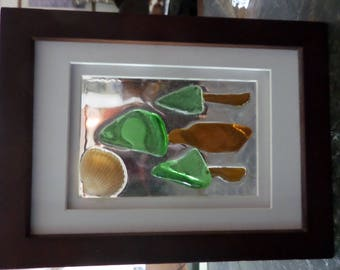 Seaglass Trees Glass Matted Frame