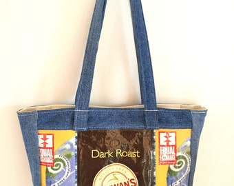 Denim and Coffee Bags Tote Handbag Gift for Her Unique Gift Recycled Repurposed Upcycled