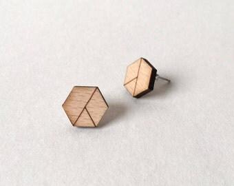 Wooden Earrings | Minimalist Earrings | Laser Cut Hexagon Earrings | Beech Plywood Earrings | Geometric Studs | Modern Earrings