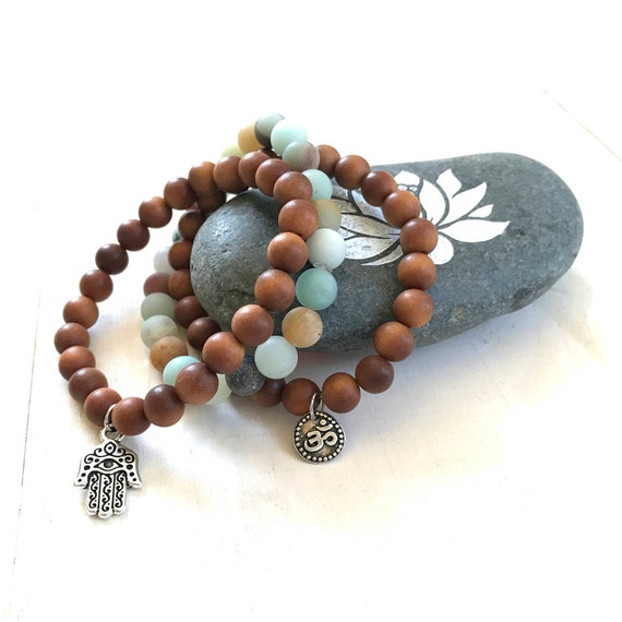 Sandalwood Stack Bracelet, Amazonite Mala Bead Bracelets, Hamsa Charm Bracelet, OM Charm Bracelet, Yoga Jewelry, Stretch Bracelets