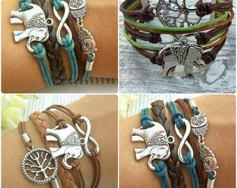 Elephant Bracelet, 4 Charm Bracelets Featuring Elephants and Infinity Charm, Animal Jewelry, Elephant Jewellery, Infinity Braclet