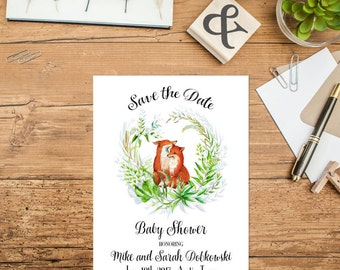 Woodland Baby Shower Save The Date Printable Woodland Animal Fox Save The Date Rustic Save The Date Baby Announcement Foliage Wreath  228
