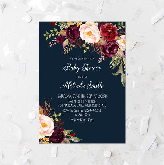 burgundy floral baby shower invitation printable navy and, Baby shower invitations