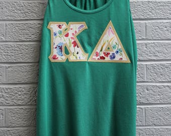 Kelly Flowy Tank With New Floral Print On Metallic Gold