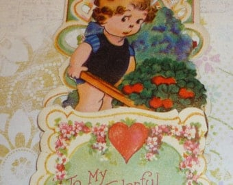 Little Girl With Cart of Valentines and Clover Vintage Fold Down Die Cut  Valentine Card