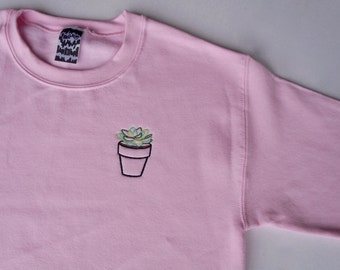 TINY SUCCULENT PLANT Embroidered Crewneck Sweatshirt