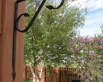 Hand forged Plant hook with leaf embellishments, Blacksmith made hook