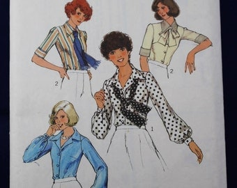 1970's Sewing Pattern for a Woman's Blouse & Scarf in Size 12 - Style 1242