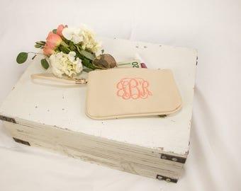 Monogrammed Wristlet Wallet | Bridesmaid Gifts | Wedding Pack | Monogrammed Clutch | Faux Leather Wristlet Clutch | Waco Wristlet