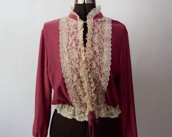1970s dusty rose lace bib blouse ivory cream lace trim lace front top peasant blouse boho chic seventies hippie top lacy secretary top XS-M