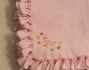 Personalized BABY GIRL BLANKET - Handmade Embroidered Fleece