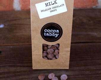 Milk Belgian Chocolate Drops. Various Flavours - Caramel, Mocha, Honey, Milk Chocolate