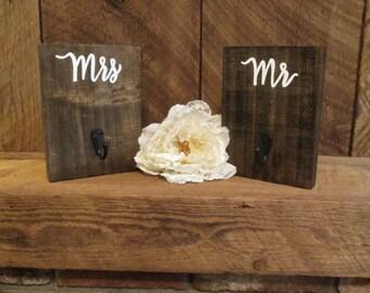 Rustic key hanger, rustic bathroom decor, mr and mrs hangers, key hook, rustic home decor, his and hers hooks, mr and mrs hooks, towel hook
