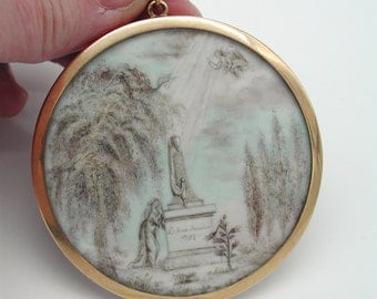 Large Antique French Gold Mourning Memorial Pendant Locket Watercolor Scene with Hair Reverse 1797