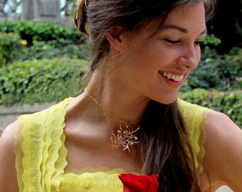Belle 2017 Necklace - Beauty and the Beast Necklace - Gold Tree of Life Pendant - Yellow Ballgown Necklace - Beauty & the Beast Jewelry