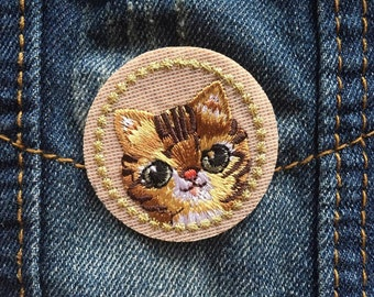 Cat Brooch, Embroidered Pin, Iron on Patch, Handmade Jewellery