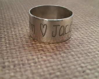 HANDWRITING wide RING-12mm wide