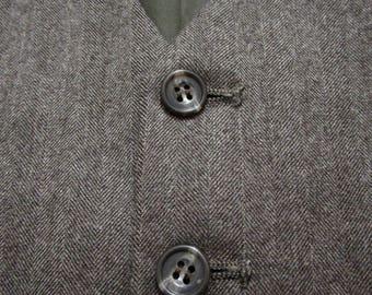 Brown Tweed Herringbone vest sz 46 vintage