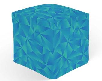 Geometric Ottoman, Cube Pouf Footrest, Blue Green Decor Ottoman, 18x18 Ottoman, 13x13 Cube Seat, Durable Footstool, Modern Hassock