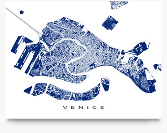Venice Map, Venice Italy Map Print, Venice City Art Maps, Venezia