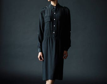 black silk dress / safari dress / minimalist dress / military dress / drop waisted / summer dress / office dress / long sleeve dress