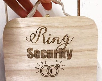 Ring Security, Personalized ring box, Ring bearer box, Ring Bearer suitcase, mini ring suitcase, personalised ring box