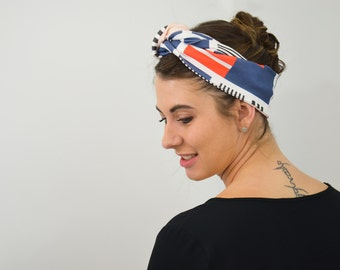 Geometric headband in organic cotton