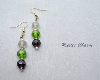 Glass bead dangle fish hook earrings