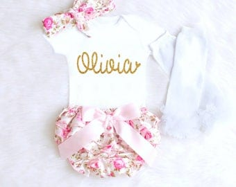 Newborn Girl Outfits, Personalized Baby Girl Coming Home Outfit, Baby Girl Summer Clothes, Newborn Girl Personalized Baby Gifts Girl 1