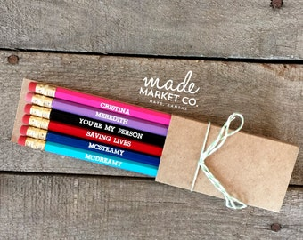 Grey's Anatomy Pencil Set, Meredith Cristina, Foiled Engraved Pencils, Christmas Gift, Stocking Stuffer, McDreamy McSteamy Office Supplies.