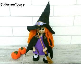 Halloween Sale crochet Witch Doll Amigurumi Witch doll Plush Witch Doll with Broom Witch toy Halloween decoration Friendly witch doll cute