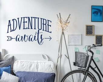 Adventure Awaits Wall Decal- Arrow Wall Decal- Adventure Wall Decal Quote Tribal Decor- Wanderlust Wall Decal Sticker Travel Decor #130