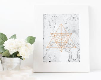 Geometric Faux Rose Gold Marble Printable Wall Art, Modern Digital Print, Home or Office Decor, Instant Download, Gift