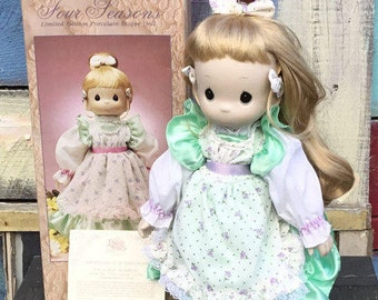 Voice of Spring Doll | Four Seasons Limited Edition | Precious Moments Collection by Enesco | Porcelain Bisque Dolls
