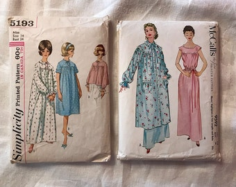 McCall's 9592 and Simplicity 5193 Vintage Nightgown Patterns - 1950's 1960's