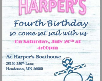 Anchor's Away Girl Birthday Party Invite