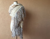 Extra Long Scarf, Feathery Fringe. Wide Scarf Hand Knit Scarf. Seven FEET Length Ivory Cream, Taupe, Beige, Grey Shawl Shoulder Wrap