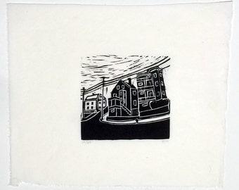 Summer Street- woodcut block print- Ruchika Madan