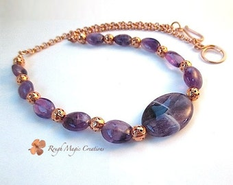 February Birthstone Amethyst Necklace, Gemstone Jewelry, Purple Stone Necklace Copper Chain, Feb Birthday Gift for Her, for Woman, for Wife