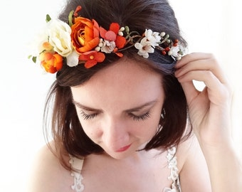 orange flower crown, ivory floral crown, burnt orange, fall wedding crown headband, ivory rose headpiece, rust, fall bridal hair piece