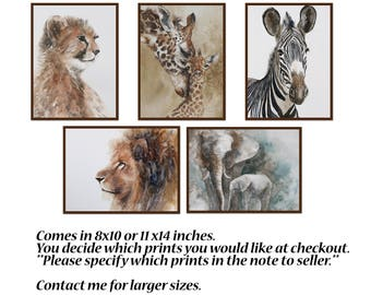 nursery art print Safari Nursery PRINT SET modern minimalist watercolor painting african boy girl zebra giraffe cheetah lion elephant