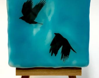 Beeswax Encaustic  Collage Crow Mini Painting