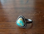 Natural Royston Turquoise Triangle Geometric Sterling Silver Stacker Ring - Size 6 - Boho Bohemian Hippie Gypsy Ponderbird