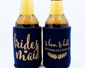 Bridesmaid Can Cooler, Bridesmaid proposal gift, to have and to hold, ask Bridesmaid, Favor, Navy