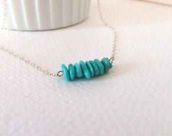 Turquoise Sleeping Beauty Bar Minimalist Handmade Necklace with Sterling Silver