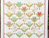 Queen Size Quilt - Strawberry Fields Tulip Quilt - Tulip Quilt - READY TO SHIP - Homemade Quilts